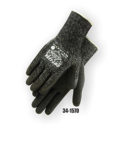 Majestic Glove 34-1570/M Industrial Gloves, Dyneema, Latex Palm, Lined, Level 5, Medium, Black (Pack of 12)