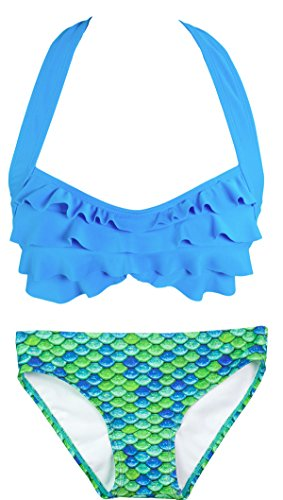 Fin Fun Mermaid Womens Sea Wave Bikini Set, Blue Top, Aussie Green Bottom, (Aussie Bikini)