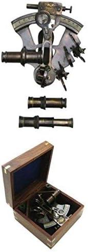 アンティークイギリス海軍六分儀、Boxed – 航海の装飾