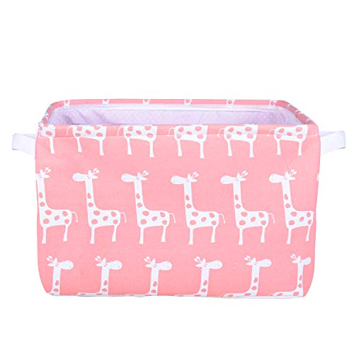 Life Bag Square Collapsible Storage Bins Foldable Round Canvas Laundry Basket with Handle for Clothes,Blankets,Toys,Bedrooms, Laundry,Baby Nursery (Square Pink)