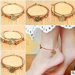 Creative Zodiac Girls Foot Chain Anklet Ankle Bracelet Jewelry Bells National Wind fine Hand Made Ceramic trinkets