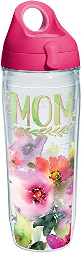 Tervis 1242903 Mom - Watercolor Floral Tumbler with Wrap and Passion Pink Lid 24oz Water Bottle, Clear (Bear Water Tervis Bottle)