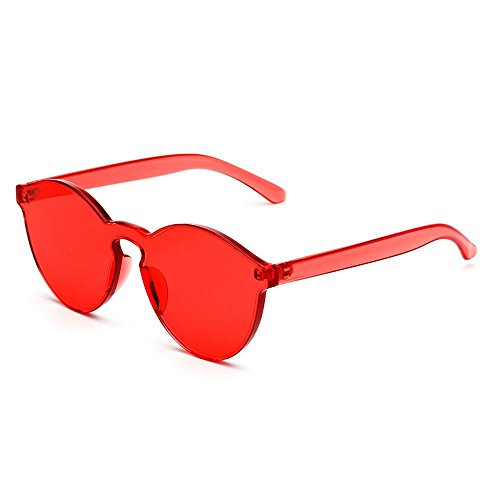 MINCL/FAshion Party Rimless One Piece pinky Clear Lens Color Sunglasses -yhl (red, - Sunglasses Red Lense