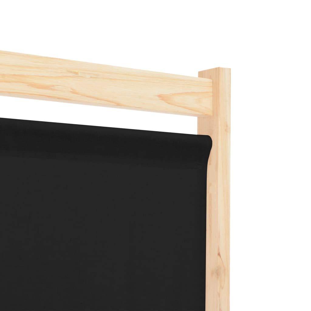 vidaXL Cloison de S/éparation 6 Panneaux S/éparateur de Pi/èce Paravent Brise-Vue Chambre /à Coucher Maison Int/érieur Noir 240x170x4 cm Tissu