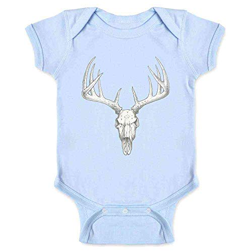 Deer Skull Retro Vintage Western Hunting Hunter Light Blue 12M Infant Bodysuit
