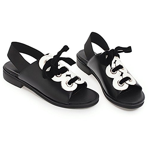 Up Black TAOFFEN Sandals Lace 48 Shoes Women's xvvw1CEgq