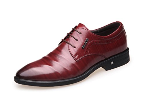 Dress Business Shoes Wedding Red British LINYI Men's Shoes Lace Pointed Shoes Men's 5dnwqw7
