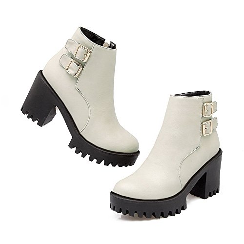 AgooLar Women's Round Closed Toe High-Heels Soft Material Ankle-high Solid Boots Gray DZK2WtU2