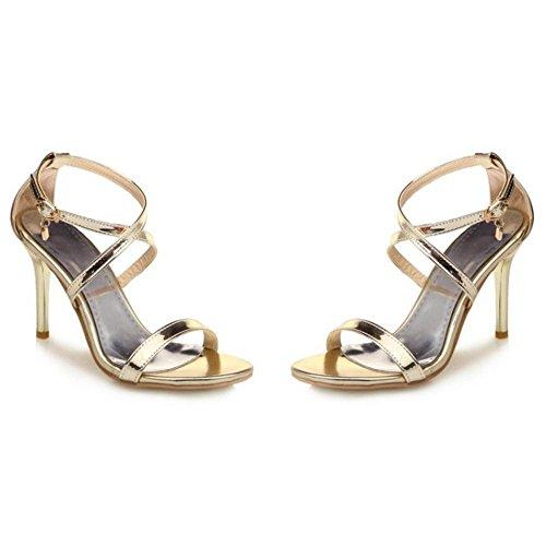 TAOFFEN Women Cross Strap Heels Sandals Shoes Gold 26lTNr