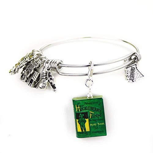 Huckleberry Finn Mark Twain Green First Edition Clay Mini Book Expandable Stainless Steel Bangle -
