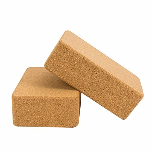 Blanmour Set of 2 Cork Wood Yoga Blocks Natural Non-Slip Bricks Pilates Sports Exercise Gym Workout Stretching Aid Body Shaping Health Training Fitness Equipment by Blanmour
