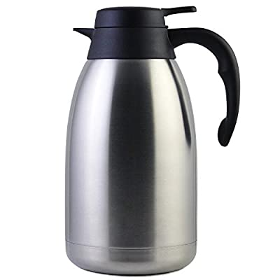 68 Oz Stainless Steel Thermal Carafe / Double Walled Vacuum Thermos / 12 Hour Heat Retention / 2 Litre