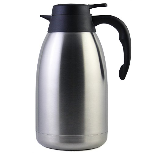 68 Oz Stainless Steel Thermal Carafe / Double Walled Vacuum Thermos / 12 Hour Heat Retention / 2 (Double Walled Carafe)