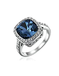Yoursfs Elegant Fashion Sapphire Blue Austrian Crystal 18k White Gold Plated Squared Cocktail Rings