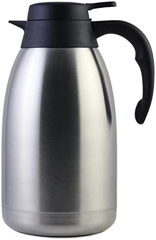 68 Oz Stainless Steel Thermal Coffee Carafe/Double Walled Vacuum Thermos / 12 Hour Heat Retention / 2 Liter Tea, Water, and Coffee Dispenser by Cresimo