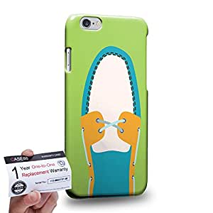 "Case88 [Apple iPhone 6 / 6s (4.7"")] 3D impresa Carcasa/Funda dura para & Tarjeta de garantía - Art Hand Drawing Cyan Boat Shoe"