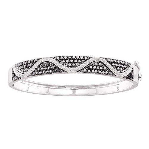 Mia Diamonds 14kt White Gold Womens Round Black Color Enhanced Diamond Bangle Bracelet (2.55cttw) (I2-I3)