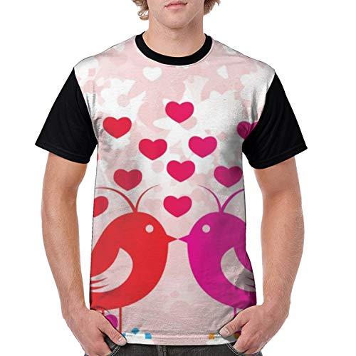 Men's Raglan Short Sleeve T-Shirts Birds Love Casual