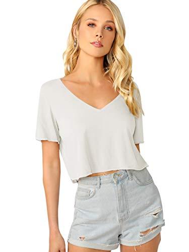 SweatyRocks Women's Casual V Neck Short Sleeve Soild Basic Crop Top T-Shirt White Large