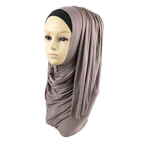 Price comparison product image DZT1968 Women daily Cotton Sweat Long Scarf Muslim Hijab Arab Wrap Shawl Headwear (Light Brown)