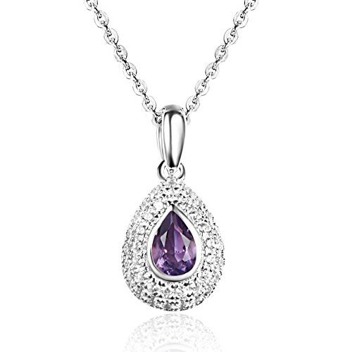 - Sterling Silver Necklace Amethyst Pendant Necklace Carleen Teardrop Crystal Necklace for Women With 18 Inch Silver Chain