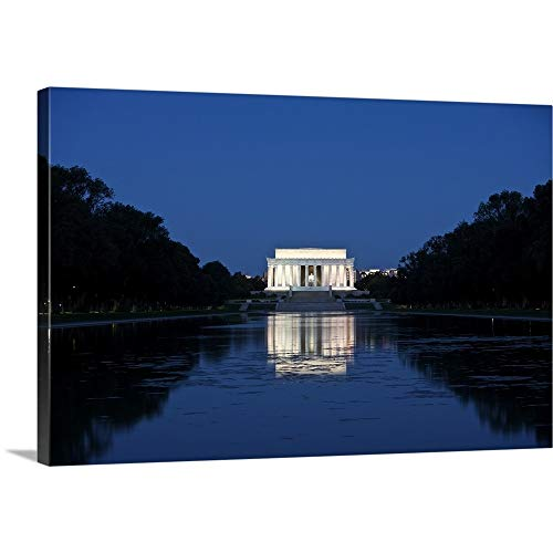 GREATBIGCANVAS Gallery-Wrapped Canvas Entitled Lincoln Memorial Reflection in Pool, Washinton D.C, USA by Terry Moore 36
