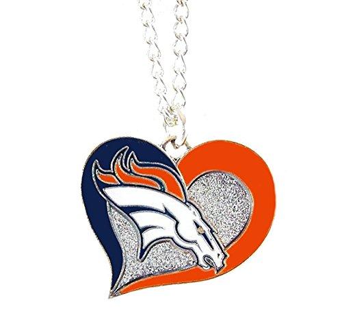 Aminco NFL Swirl Heart Necklace Denver Broncos