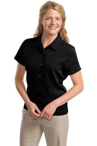 Port Authority Ladies Easy Care Camp Shirt. L535 Black S