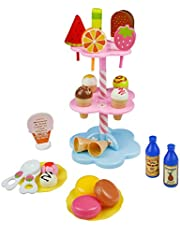 yoptote Role Play Toy DIY Desserts Toy Ice Cream Cone Set Pretend Play Set Food Toys House Toys for Children Girls Aged 3 and Up (22 PCS)