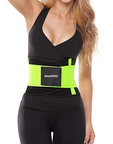 SHAPERX Women's Waist Trainer Belt Waist Training Corset Cincher Slimming Body Shaper for an Hourglass Weight Loss Workout Gym Fitness Trimmer Slimmer Shaper, SZ8002-Lemon-Green-M