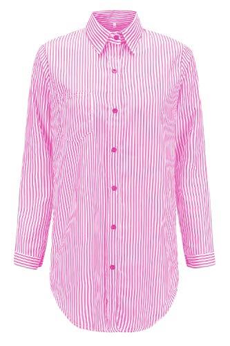 Chemises Pink2 Manches Chemise Les Dessus Bouton De Un Longues Rayures 7TxSqUaw