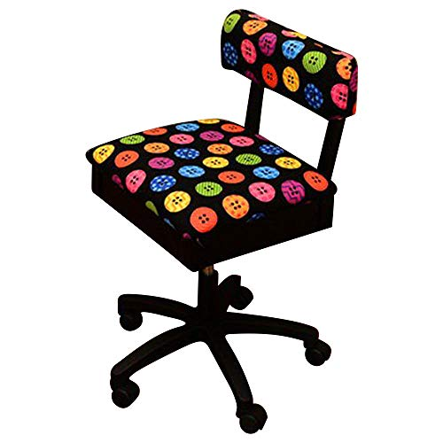 (Arrow Sewing Cabinets Arrow Hydraulic Sewing Chair with Riley Black Button Motif)