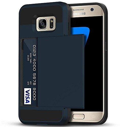 Galaxy S7 Edge Case, Anuck Slidable ID Card Slot Holder Galaxy S7 Edge Wallet Case [Credit Cards Pocket][Hard Shell] Shockproof Armor Rubber Bumper Case Cover for Samsung Galaxy S7 Edge - Dark Blue