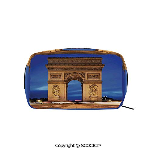 Travel Cosmetic Bag Portable Makeup Pouch Arc de Triomphe Paris France at Night View from Avenue des Champs Elysees makeup clutch for Girls Ladies Women