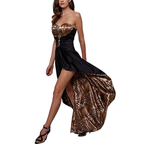 CLOCOLOR Damen Glamour Bodenlänge Ärmellos Rückenfreie Asymmetrische Leopart Print Sweetheart Abendkleider Cocktailkleider