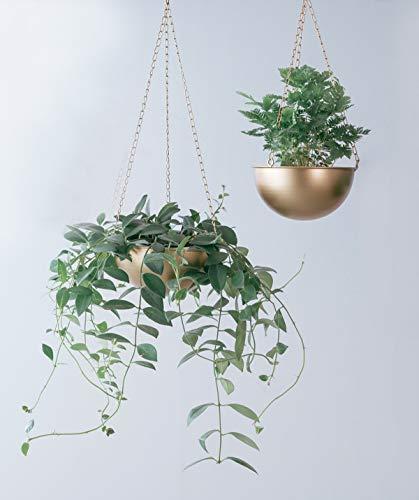 - RISEON Set of 2 Boho Brass Gold Bowl Shaped Plant Hanger,Metal Round Hanging Planter Flower Plant Pot, Modern Planter, Mid Century Plant Holder, Minimalist Planter for Indoor Outdoor Home Decor (Gold)