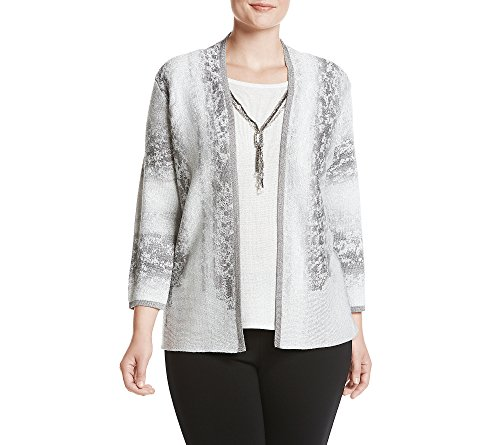Alfred Dunner Sweater (Alfred Dunner Silver Bells Vertical Skin Two for one Sweater Silver 1X)