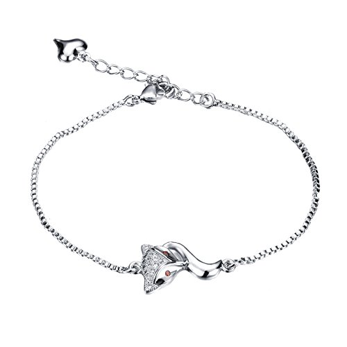 D.B.MOOD Women's Lovely Platinum Plated Fox Charm Adjustable Link Braclet Silver