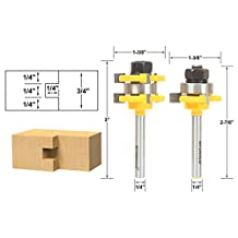 Yonico 15228q 15228q Tongue and Groove Router Bit Set 1/4-Inch X 1/4-Inch 1/4-Inch Shank,,