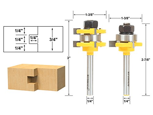 Yonico 15228q Yonico 15228q Tongue and Groove Router Bit Set 1/4