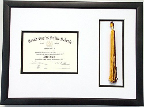 School Diploma Frame (High School Graduation Certificate Document 6x8 with Tassel Opening Custom Picture Frame Unit)