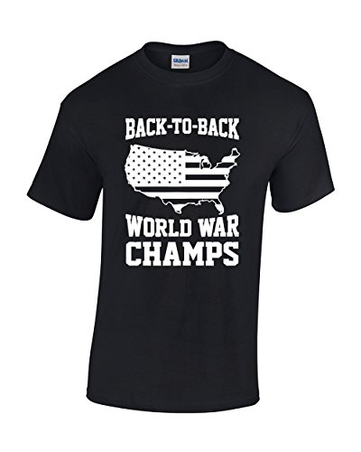 Crazy Bro's Tees Back To Back World War Champs Men's T-Shirt (Large, Black)
