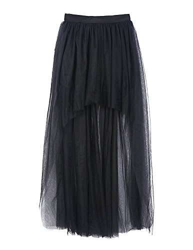 vintage de style de roll 4XL 44 de EU soire femme Jupe mousseline 45 Taille94cm et gothique dentelle Coswe soie de en jupe Noir rock'n pour A5qwZd7ZE