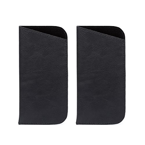2 Pack Polemax Soft Slip in PU Leather Eyeglasses Sunglasses Pouch Case Portable Glasses Protection Bag (Black) by Polemax