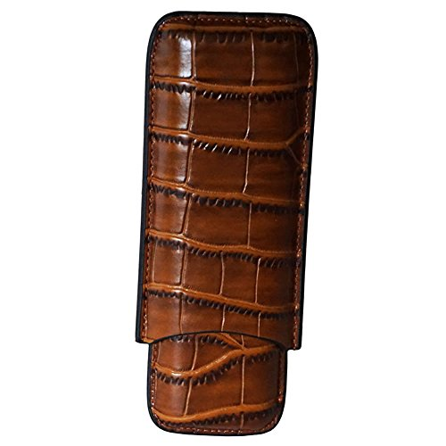 2 Finger Leather Cigar Case (Classic Collection - Napoles Leather Case - 2 Fingers - Color Dark Brown)