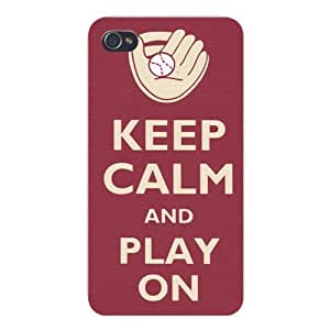 Apple Iphone Custom Case 6 4.7 White Plastic Snap on - Keep Calm and Play On Baseball & Glove