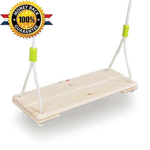 HAPPY PIE PLAY&ADVENTURE Adult Super Big Wood Tree Hanging Swings Seat with 67'' Height Adjustable Nylon Rope Per Side (Tree Hanging Seat)