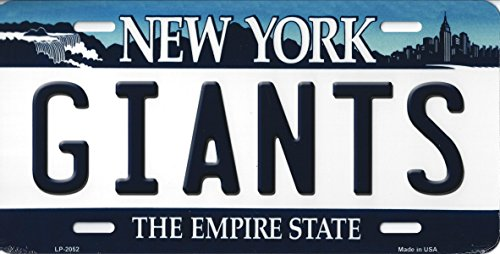 Giants New York State Background Novelty Metal License Plate Tag (Giants)