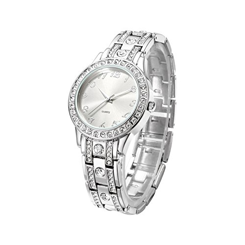 Nuovo Women's Watches with Crystal-Accented Dial Silver Stainless Steel Bracelet for Ladies (Bezel Steel Ladies Watch)