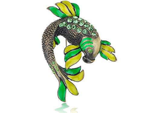Peridot Green Crystal Rhinestone Jumpin Koi Carp Fish Fashion Costume Pin Brooch